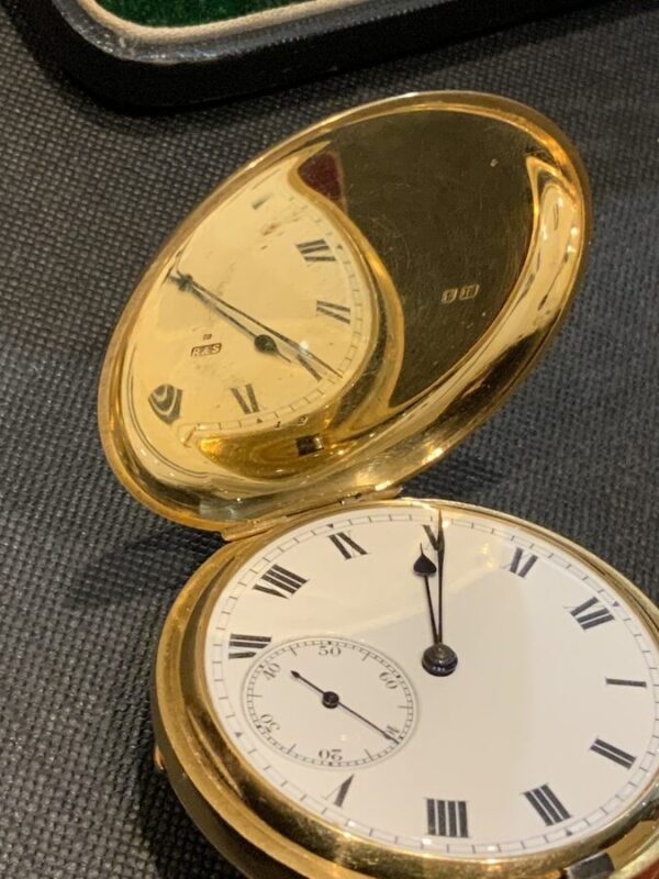 18CT Full Hunter pocket watch by Rotherham's of London Antique Watches 7