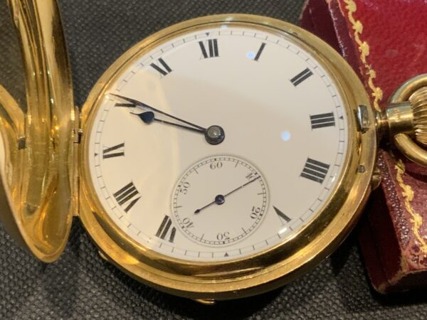 18CT Full Hunter pocket watch by Rotherham's of London Antique Watches 9
