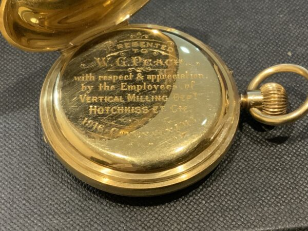 18CT Full Hunter pocket watch by Rotherham's of London Antique Watches 10