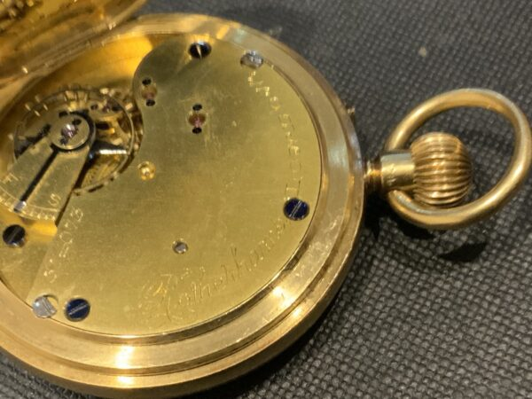18CT Full Hunter pocket watch by Rotherham's of London Antique Watches 11