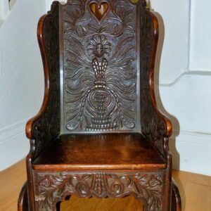 Antique Childs/Dolls Rocking Chair, Heavily Carved & Most Unusual carved chair Antique Chairs